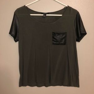 Forever 21 Faux Leather Sleeve Tee